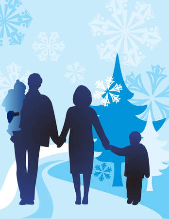 vector winter family of four Stock Vector - 6624466