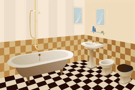 bathroom interior: bathroom vector
