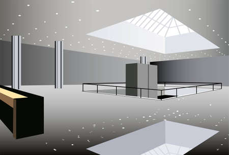 business hall interior vector Vektorové ilustrace