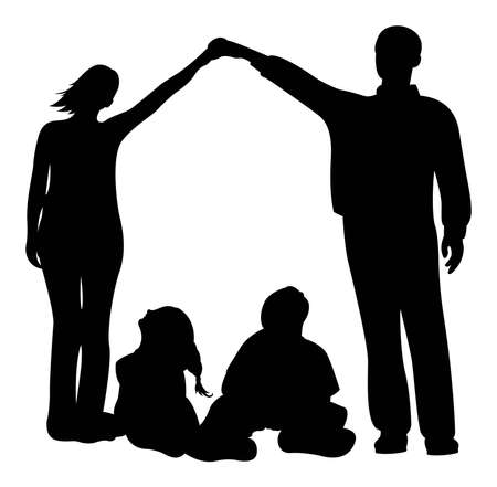 happy couple at home: family house vector silhouette