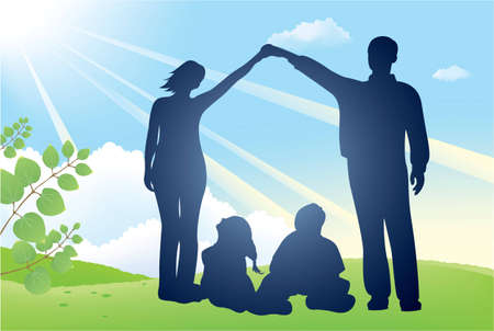 healthy family: family house vector silhouette