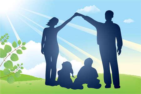 family grass: silueta de vector de casa de familia