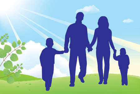 father and mother walk with children Vector