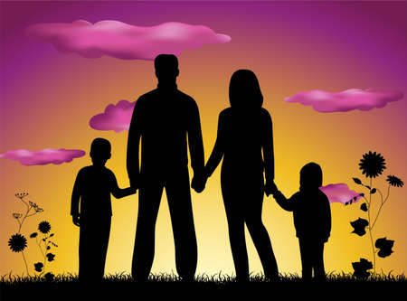 family silhouette sunset Stock Vector - 6629905