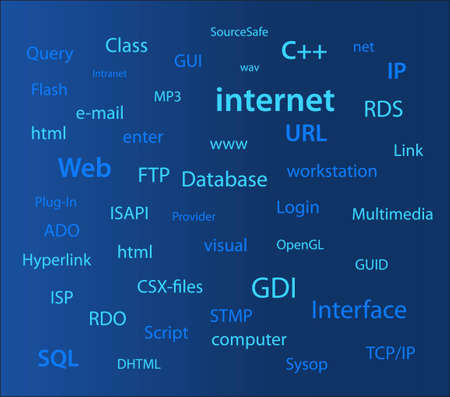 tcp: internet computer words wall Illustration
