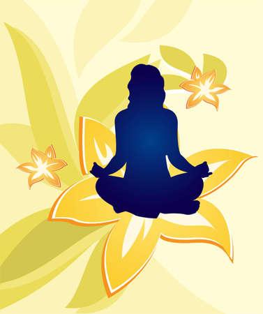buddhist meditation: yoga floral woman vector