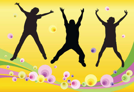 jumping friends floral vector Vector