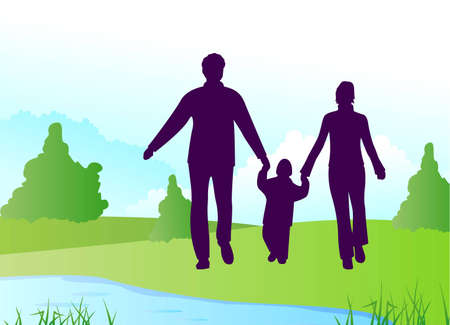 family silhouette on river vector Vector