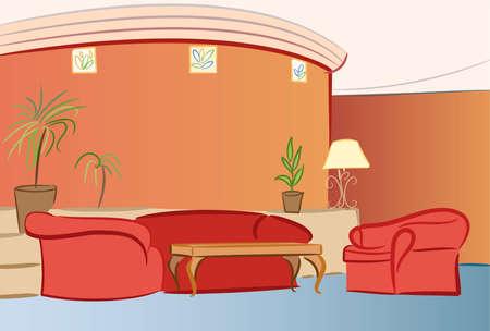 apartment suite: sofa hotel interior vector