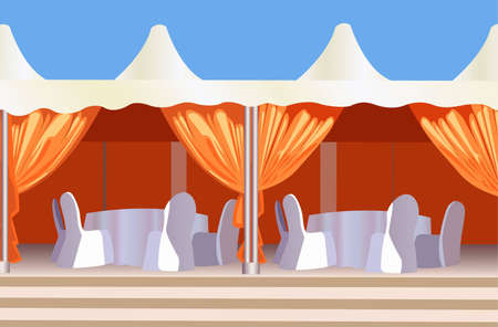 dinner party table: tent cafe vector