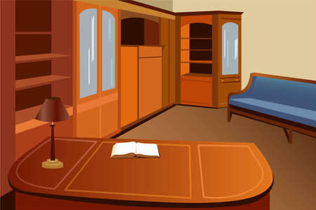 vintage living room: home library vector