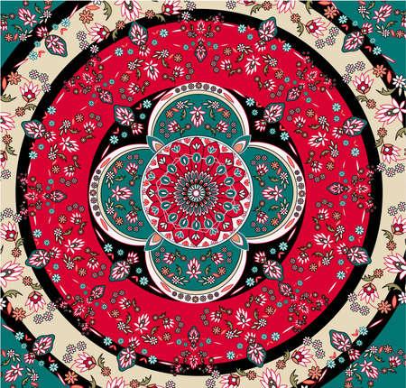 square oriental carpet vector Vector