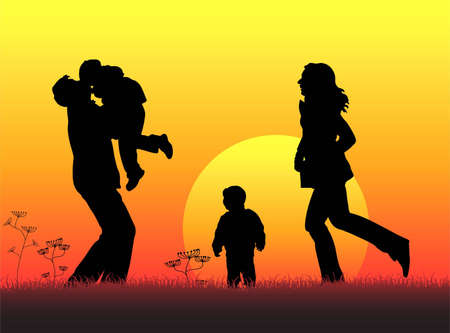family of four sunset silhouette vector Vector