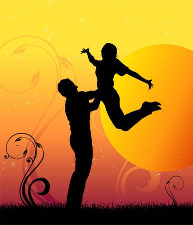 sunset jump couple silhouette vector Vector Illustration