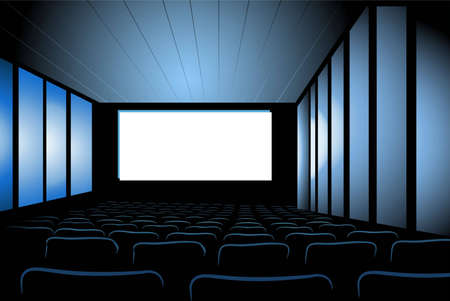 theater auditorium: cinema interior vector Illustration