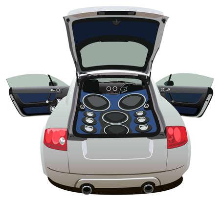 stereo: ouvrir la voiture avec musique grand vecteur