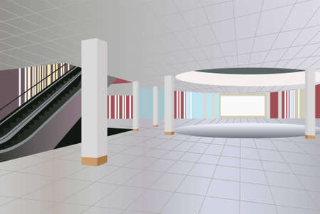 mall interior: commercial center interior vector