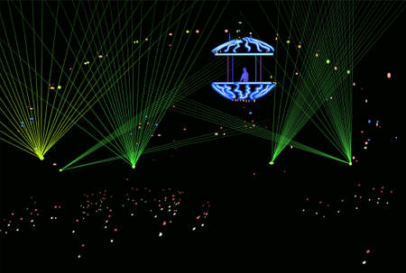 laser show: DJ in laser beams vector
