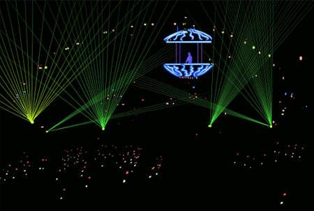 trance: DJ in laser beams vector