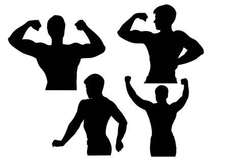 tough man: Bodybuilder silhouette vector