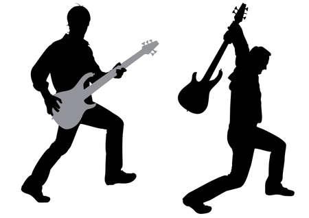 guitariste: guitariste silhouette vecteur
