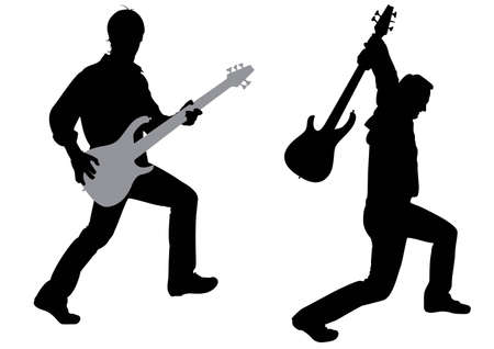 guitarristas: vector de la silueta de guitarrista Vectores