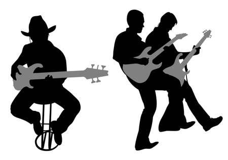 guitariste: vecteur de silhouette guitariste  Illustration