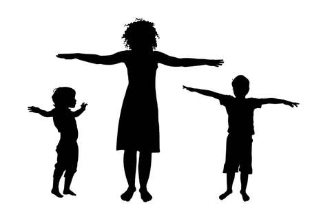 Mother and children sport training silhouette vector Vector