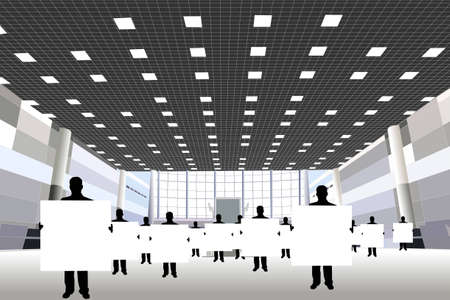 exhibition hall: businessmen with board for text silhouette in business center vector