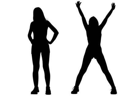 mujer ejercitandose: vector de silueta de ni�a de deporte