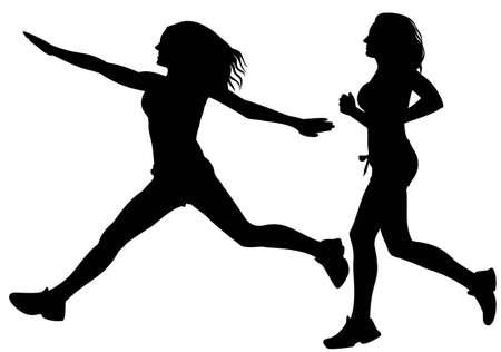 running sport woman silhouette vector Vector