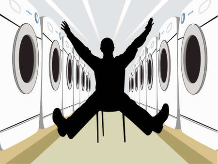 wide man on chair silhouette with washers vector Stock Vector - 6624467