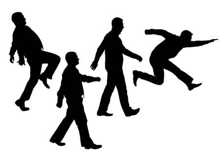 businessman jumping: moving people silhouette vector
