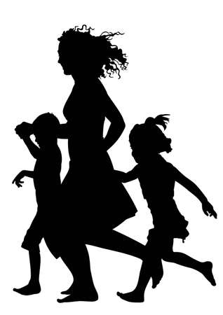 mom son: Mother with children running silhouette vector Illustration