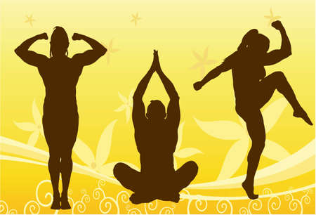 bodybuilder woman silhouette vector Stock Vector - 6624493