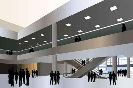 hallway: people silhouette in business center vector Illustration