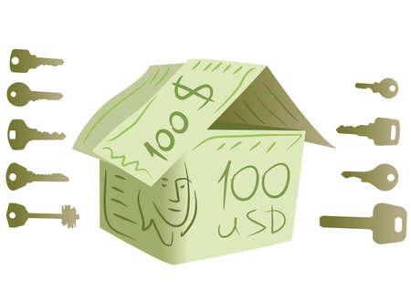 keys and dollar house vector Stock Vector - 6624507