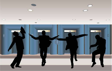 happy businessman silhouette in corridor vector Vector