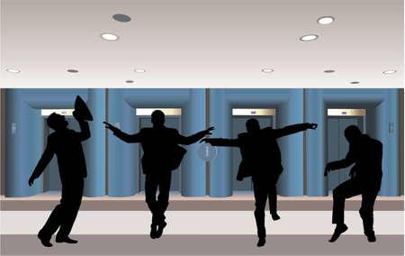 happy businessman silhouette in corridor vector Stock Vector - 6624494