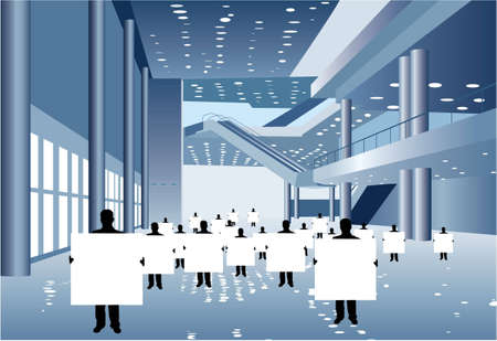 centre d affaires: businessmen with board for text silhouette in business center vector