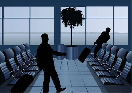 depart: businessman with baggage silhouette in airport vector Illustration
