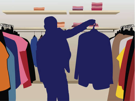 closets: man suit silhouette in shop vector