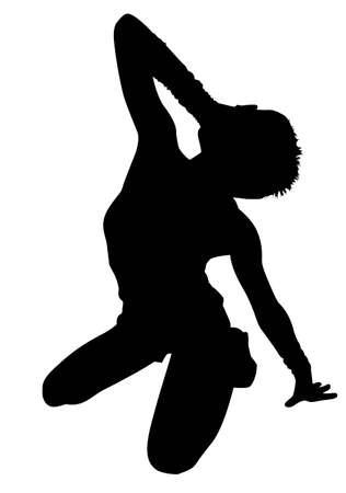 extase: huilende vrouw in ecstasy silhouet vector Stock Illustratie