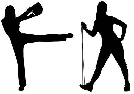 gym ball: fitness woman with ball and jumping rope silhouette vector