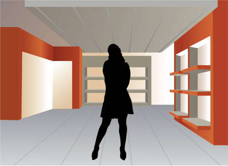 mall interior: woman silhouette in empty shop vector