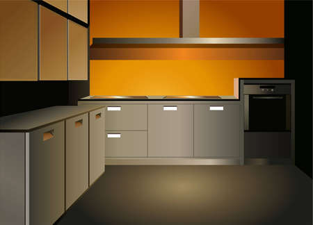 interior drawing: brown kitchen interior vector Illustration