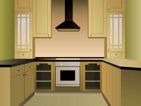 brown kitchen vector Vector