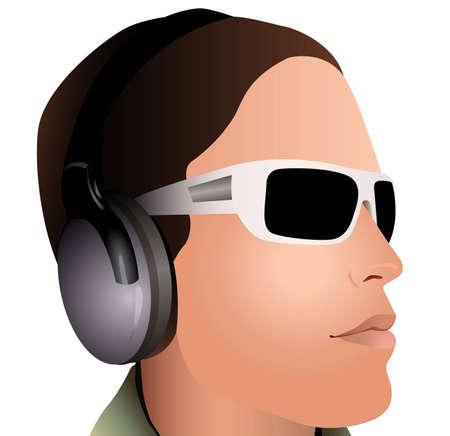 dj boy: man with headphones and sunglasses vector
