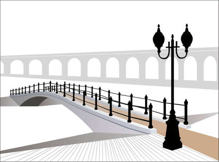 footbridge: winter bridge vector