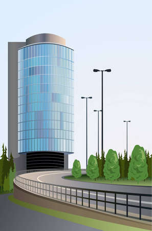 modern building and road vector Stock Vector - 6629504